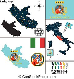 Map of Lazio, Italy