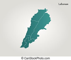 Detailed vector map of lebanon and capital city beirut eps vectors