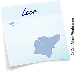 Map of Leer as sticky note in blue