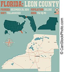 Map of Leon County in Florida