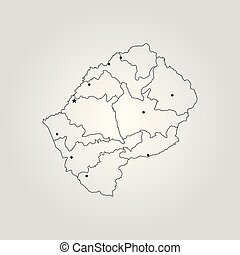Map of Lesotho. Vector illustration. World map
