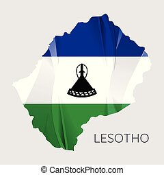 Map of Lesotho with an official flag. Illustration on white background