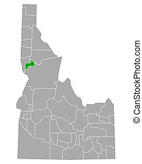 Map of Lewis in Idaho