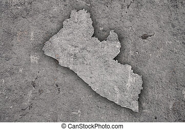 Map of Liberia on weathered concrete