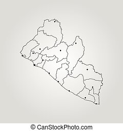Map of Liberia. Vector illustration. World map