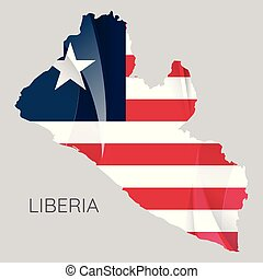 Map of Liberia with an official flag. Illustration on white background