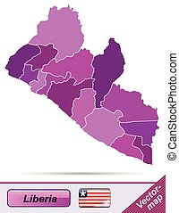 Map of Liberia with borders in violet