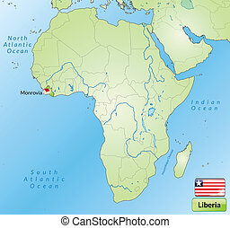 Map of Liberia with main cities in green