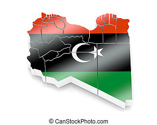 Map of Libya in Portugese flag colors
