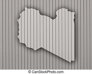 Map of Libya on corrugated iron