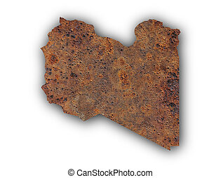 Map of Libya on rusty metal