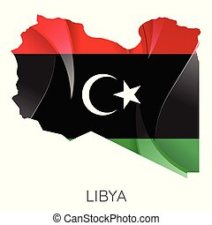Map of Libya with an official flag. Illustration on white background