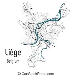 Map of Liege Luik L?ttich city within administrative borders...