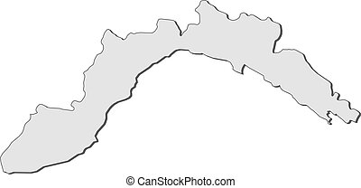 Map of Liguria (Italy) - Map of Liguria, a region of Italy.