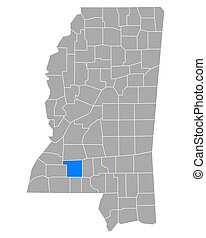Map of Lincoln in Mississippi
