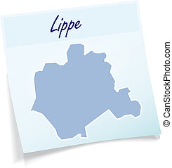 Map of Lippe as sticky note in blue