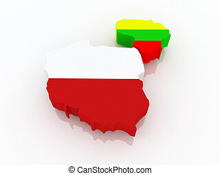 Map of Lithuania and Poland. 3d