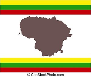 Map of Lithuania on background with flag