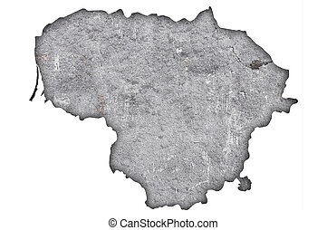 Map of Lithuania on weathered concrete