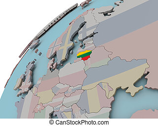 Map of Lithuania with flag