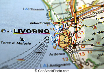 Map of Livorno in Italy