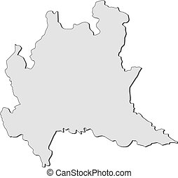 Map of Lombardy (Italy) - Map of Lombardy, a region of...