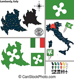 Map of Lombardy, Italy