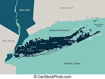 Map of Long Island - Vector map of Long Island - a region...