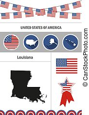 Map of Louisiana. Set of flat design icons nfographics elements