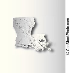 Map of Louisiana with lakes and rivers. - U.S. states - map...