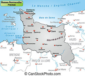 Map of Lower Normandy as an overview map in gray