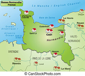 Map of Lower Normandy as an overview map in green