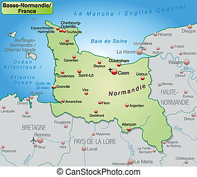 Map of Lower Normandy as an overview map in pastel green