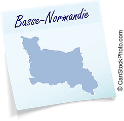 Map of Lower Normandy as sticky note in blue