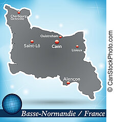 Map of Lower Normandy with abstract background in blue