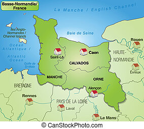 Map of Lower Normandy with borders in green