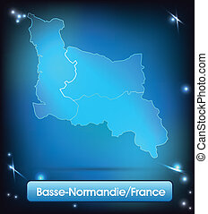 Map of Lower Normandy with borders with bright colors