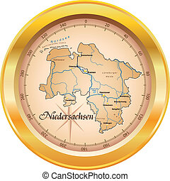 Map of Lower Saxony as an overview map in gold