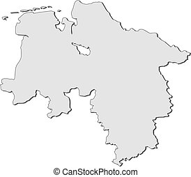 Map of Lower Saxony (Germany) - Map of the state Lower...