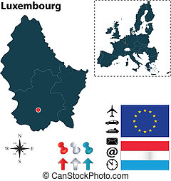 Map of Luxembourg with European Union