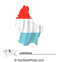Map of Luxembourg with flag