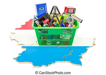 Map of Luxembourg with shopping basket full of home and kitchen appliances, 3D rendering
