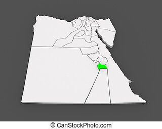 Map of Luxor. Egypt. 3d