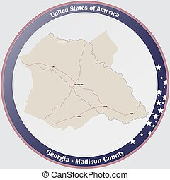 Large and detailed map of Macon county in Georgia, USA.