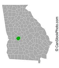 Map of Macon in Georgia