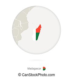 Map of Madagascar and national flag in a circle.