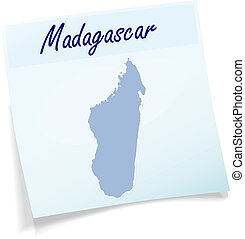 Map of Madagascar as sticky note