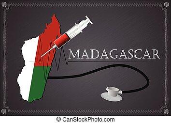Map of Madagascar with Stethoscope and syringe.