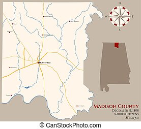 Map of Madison County in Alabama - Large and detailed map of...