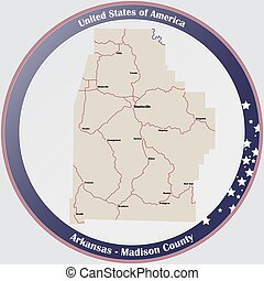 Map of Madison County in Arkansas - Round button with ...